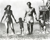 Robert Mitchum Walking at Beach With Family Photo by  Movie Star News