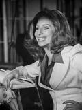 Barbra Streisand smiling In White Coat Photo by  Movie Star News