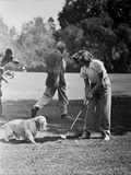 Katharine Hepburn Playing Golf with Dog Photo by A Kahle
