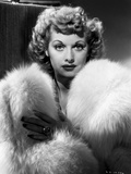 Lucille Ball Posed in Fur Coat Portrait Photo by E Bachrach