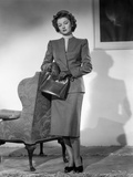 Myrna Loy Holding Bag in Black and White Photo by Gaston Longet