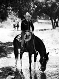Gene Autry Riding a Horse Drinking Water Photo by  Movie Star News