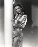 Loretta Young Shiny Silver Satin Dress Photo by  Movie Star News