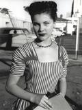 Debra Paget in Stripes Gown Portrait Photo af Movie Star News