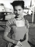 Debra Paget in Stripes Gown Portrait Photo by  Movie Star News