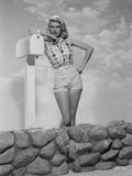 Jayne Mansfield standing in Classic Photo by Bert Six