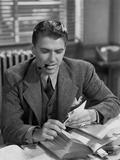 Ronald Reagan Smoking a Pipe Photo by  Movie Star News