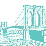 Aqua Brooklyn Bridge Print by Veruca Salt