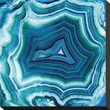 Agate in Aqua Stretched Canvas Print by Danielle Carson