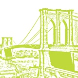 Lime Brooklyn Bridge Prints by Veruca Salt