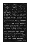 Mother Teresa Quote Black Posters by Veruca Salt