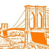 Orange Brooklyn Bridge Prints by Veruca Salt