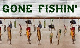 Gone Fishin' Wood Fishing Lure Sign Prints by Veruca Salt