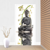 Under White Orchids Door Mural Wallpaper Mural