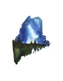 Maine State Watercolor Prints by Jessica Durrant