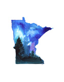 Minnesota State Watercolor Poster by Jessica Durrant