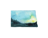 North Dakota State Watercolor Posters af Jessica Durrant