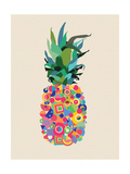 Summer Pineapple Design with Modern Color Shapes Premium Giclee Print by  cienpies