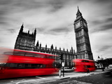London, the Uk. Red Buses in Motion and Big Ben, the Palace of Westminster. the Icons of England In Photographic Print by Michal Bednarek