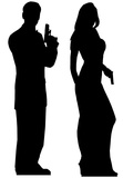 Secret Agents Male and Female Two-Pack Silhouettes découpées en carton