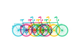 Retro Bike Concept Silhouette Bicycle Colorful Prints by  cienpies