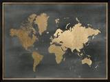 Gold Foil World Map on Black Prints by Jennifer Goldberger