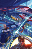 Captain America: Sam Wilson No. 7 Cover Featuring Falcon Cap, Steve Rogers, Winter Soldier Print by Alex Ross
