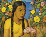 Juanita Entre Las Flores Giclee Print by Alfredo Ramos Martinez