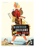 Montreux-Oberland Bahn - Switzerland - Bernese Oberland Railway Affischer av Herbert Leupin