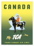 Canada - Fly TCA (Trans-Canada Air Lines) - Royal Canadian Mounted Police on Horseback Prints by Jacques Le Flaguais