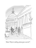 """Run! They're talking about gun control!"" - Cartoon Regular Giclee Print by Kim Warp"