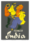 Festivals of India - Classical Indian Dancers Prints by  Pacifica Island Art