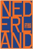 Nederland MMXVI Vertical Stacked Orange Texts Posters