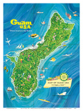 Map of Guam, USA - Where America's Day Begins Poster by Alec Baird