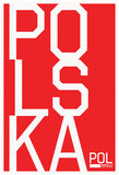 Polska Vertical Stacked White Text Fan Sign Prints