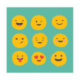 Hand Drawn Emoticons, Colorful Emoji Icons with Communication Speech Bubbles Giclee-tryk i høj kvalitet af  Marish