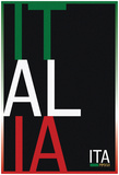 Italia MMXVI Vertical Stacked Flag Fan Sign Prints