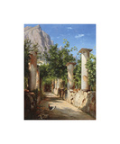 An Ancient Colonnade, Italy Premium Giclee Print by Carl Frederic Aagaard