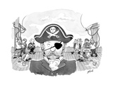 A pirate caption being mocked behind his back, but only on the side where ... - New Yorker Cartoon Premium Giclee Print by Tom Toro