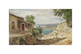 Coastal Landscape from Taormina on Sicily Premium Giclee Print by Carl Frederic Aagaard