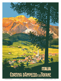 Cortina d'Ampezzo (Cortina) e le (and the) Tofane Mountains - Italia (Italy) Poster by  Pacifica Island Art