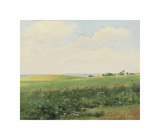 Summer Landscape with Rolling Fields Premium Giclee Print by Carl Frederic Aagaard