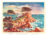 Monterey Coastline, California - United Air Lines Calendar Page Prints by Joseph Fehér