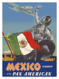 Mexico - Tomorrow - via Pan American Airways (PAA) - Flag of Mexico Prints by Paul George Lawler