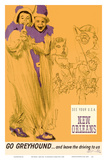 New Orleans - Mardi Gras - Greyhound Bus Lines Prints by George Roth