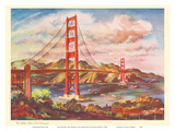 The Golden Gate Bridge, San Francisco - United Air Lines Calendar Page Prints by Joseph Fehér
