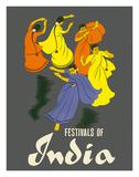 Festivals of India - Classical Indian Dancers Lámina giclée por Pacifica Island Art