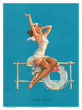 Ankles Aweigh - Sexy Sailor Glamour Pin-Up Girl Prints by Gil Elvgren