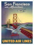 San Francisco via Mainliner - United Air Lines - San Francisco–Oakland Bay Bridge Prints by William Lawson