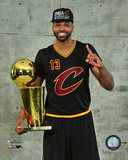 Tristan Thompson with the NBA Championship Trophy Game 7 of the 2016 NBA Finals Photo